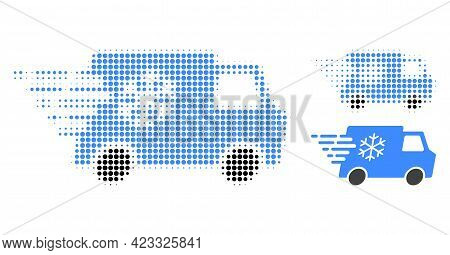 Refrigerator Car Halftone Dotted Icon. Halftone Array Contains Round Pixels. Vector Illustration Of