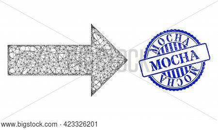Vector Net Arrow Wireframe, And Mocha Blue Rosette Scratched Stamp Seal. Linear Carcass Net Illustra