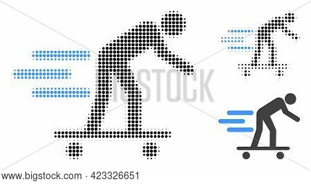 Scate Roller Man Halftone Dotted Icon. Halftone Array Contains Round Pixels. Vector Illustration Of