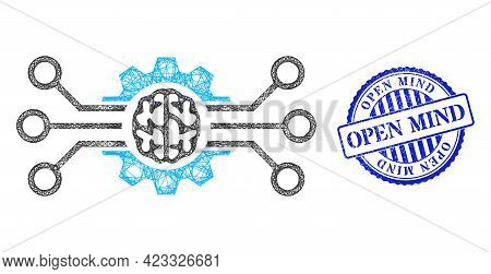 Vector Network Artificial Intellect Wireframe, And Open Mind Blue Rosette Grunge Stamp Seal. Crossed