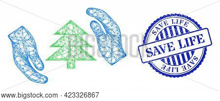 Vector Net Fir Tree Care Hands Carcass, And Save Life Blue Rosette Dirty Stamp Seal. Crossed Carcass