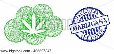 Vector Net Mesh Cannabis Smoke Carcass, And Marijuana Blue Rosette Grunge Watermark. Linear Carcass