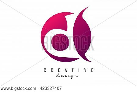 Handwritten D Logo On Pink Gradient Circle With Creative Cut. Creative Letter D  Logo With Pink Back