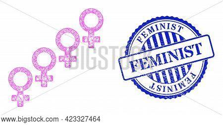 Vector Network Female Cohort Symbol Framework, And Feminist Blue Rosette Scratched Seal Print. Linea
