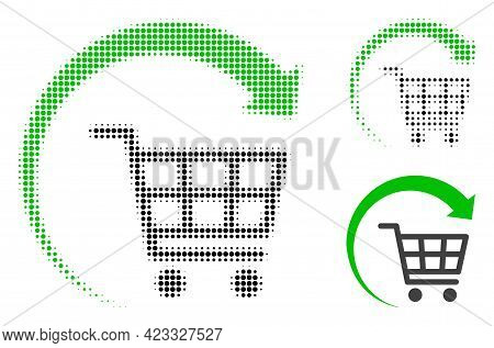 Repeat Shopping Cart Halftone Dotted Icon. Halftone Pattern Contains Round Elements. Vector Illustra