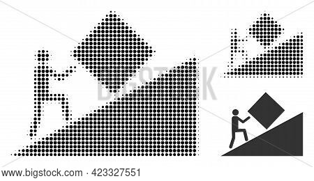 Pointless Task Halftone Dotted Icon. Halftone Array Contains Circle Elements. Vector Illustration Of