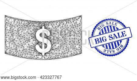 Vector Network Dollar Banknote Carcass, And Big Sale Blue Rosette Unclean Seal Imitation. Crossed Fr