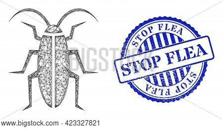 Vector Network Cockroach Framework, And Stop Flea Blue Rosette Scratched Stamp Seal. Linear Frame Ne
