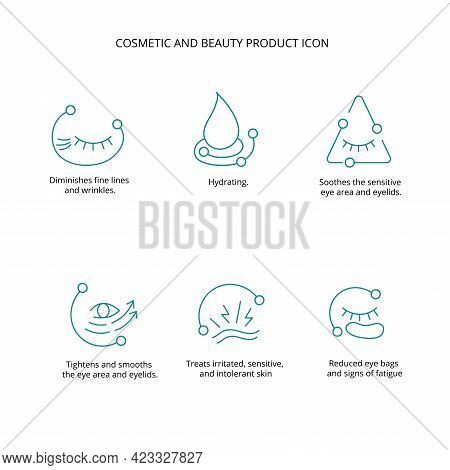 Eye Patch, Cream, Mask Cosmetic And Beauty Product Icon Set For Web, Packaging Design. Vector Stock