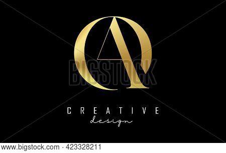 Golden Ao A O Letter Design Logo Logotype Concept With Serif Font And Elegant Style. Vector Illustra