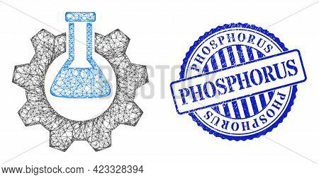 Vector Network Chemical Industry Wireframe, And Phosphorus Blue Rosette Scratched Seal. Linear Frame