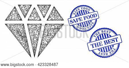 Vector Network Adamant Crystal Carcass, And Safe Food Blue Rosette Rubber Badge. Crossed Frame Netwo