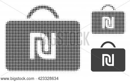 Shekel Case Halftone Dotted Icon. Halftone Pattern Contains Circle Points. Vector Illustration Of Sh