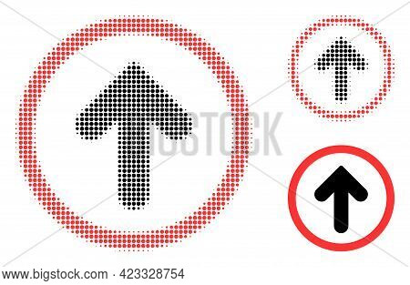 Up Pointer Halftone Dotted Icon. Halftone Pattern Contains Circle Points. Vector Illustration Of Up
