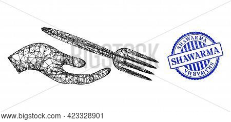 Vector Crossing Mesh Dining Etiquette Framework, And Shawarma Blue Rosette Textured Stamp. Crossed C