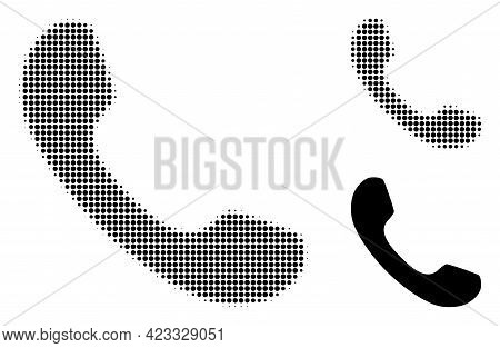Telephone Halftone Dotted Icon. Halftone Array Contains Circle Points. Vector Illustration Of Teleph