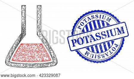 Vector Net Mesh Chemical Flask Carcass, And Potassium Blue Rosette Scratched Stamp Seal. Linear Carc