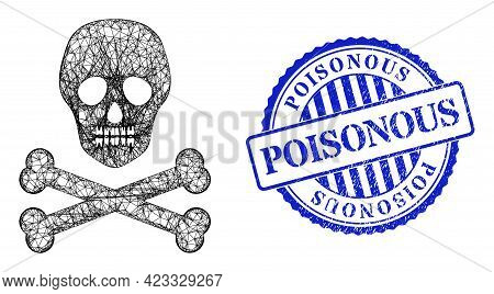 Vector Network Death Skull Model, And Poisonous Blue Rosette Dirty Seal Imitation. Hatched Frame Net