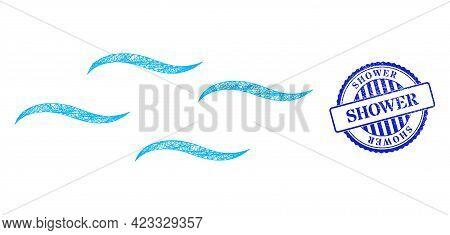 Vector Network Air Wireframe, And Shower Blue Rosette Textured Seal Print. Crossed Frame Net Illustr