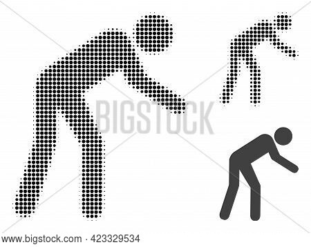 Tired Person Halftone Dotted Icon. Halftone Pattern Contains Round Points. Vector Illustration Of Ti
