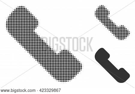 Phone Receiver Halftone Dotted Icon. Halftone Array Contains Circle Pixels. Vector Illustration Of P