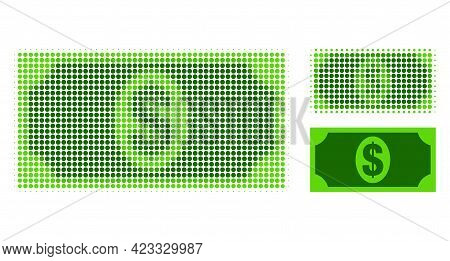 Usd Banknote Halftone Dotted Icon. Halftone Pattern Contains Circle Dots. Vector Illustration Of Usd