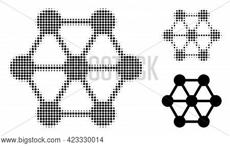 Node Connections Halftone Dotted Icon. Halftone Array Contains Round Elements. Vector Illustration O