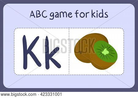 Kid Alphabet Mini Games In Cartoon Style With Letter K - Kiwi. Vector Illustration For Game Design -