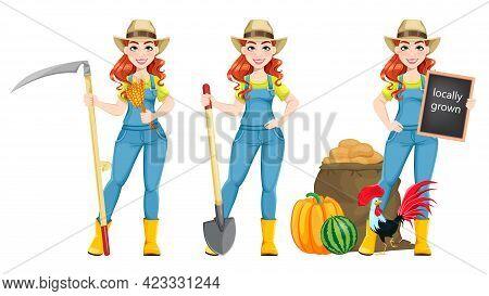 Beautiful Woman Farmer, Set Of Three Poses. Cute Girl Farmer Cartoon Character With Scythe, With Sho