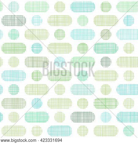 Vector Woven Fabric Green Dashes And Dots Seamless Pattern Background. Repeating Linen Textile Textu