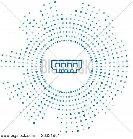 Blue Line Ram, Random Access Memory Icon Isolated On White Background. Abstract Circle Random Dots.