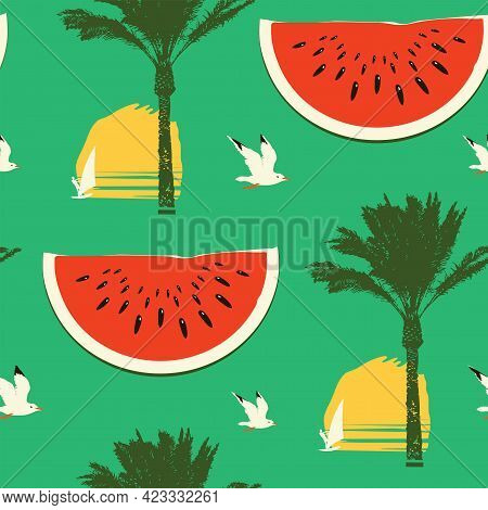 Vector Seamless Pattern On Theme Of Sea Summer Travel. Tropical Background With Ripe Red Watermelon