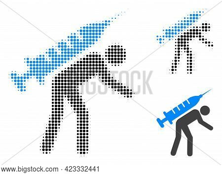 Vaccine Courier Halftone Dotted Icon. Halftone Pattern Contains Round Pixels. Vector Illustration Of