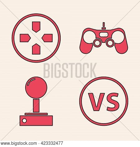 Set Vs Versus Battle, Gamepad, Gamepad And Joystick For Arcade Machine Icon. Vector