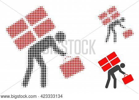Refugee Person Halftone Dotted Icon. Halftone Array Contains Circle Elements. Vector Illustration Of