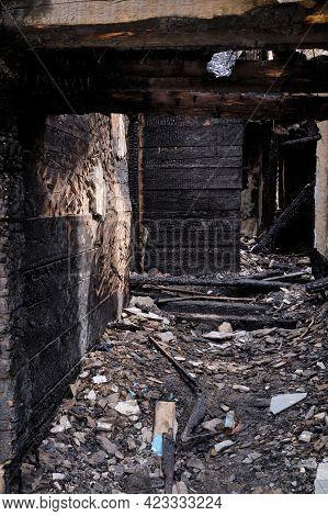 Dark Burnt Wooden House Corridor After Fire