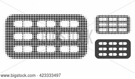 Pill Blister Halftone Dotted Icon. Halftone Array Contains Circle Points. Vector Illustration Of Pil