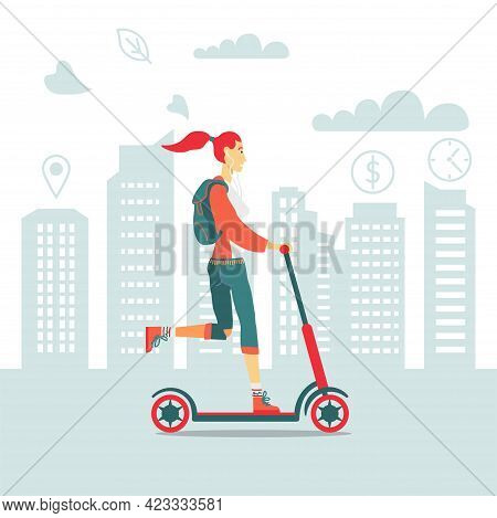 Young Woman Riding Electric Kick Scooter In The City