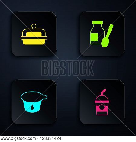 Set Milkshake, Butter In Butter Dish, Yogurt Container And Drinking Yogurt Bottle. Black Square Butt