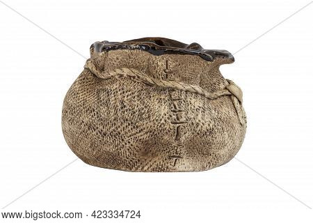 Earthenware Vessel Isolated. Pouch. Piggy Bank. Decorative