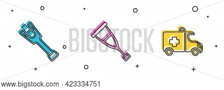 Set Prosthesis Leg, Crutch Or Crutches And Emergency Car Icon. Vector