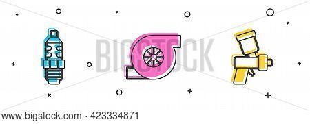 Set Car Spark Plug, Automotive Turbocharger And Paint Spray Gun Icon. Vector