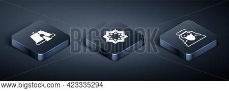 Set Isometric Turkish Hat, Muslim Man And Octagonal Star Icon. Vector