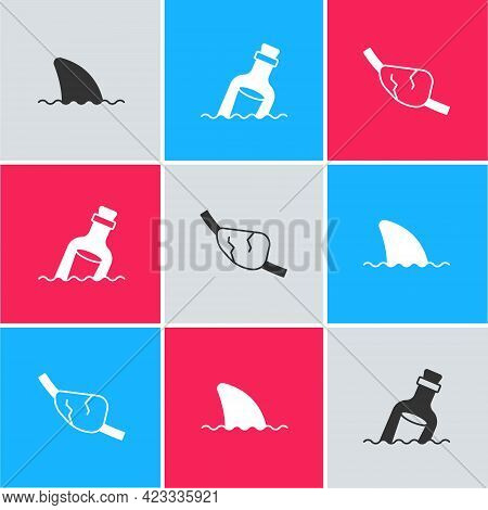 Set Shark Fin In Ocean Wave, Bottle With Message Water And Pirate Eye Patch Icon. Vector
