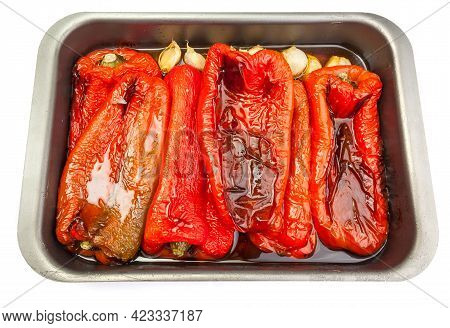 Appetizing Home-roasted Red Peppers On A Roasting Pan. Tray Isolated On White Background.