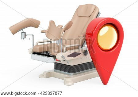 Gynecology Center Location Concept. Map Pointer With Gynecological Examination Chair, 3d Rendering I