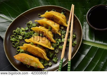 Japanese Dumplings Gyoza With Chicken And Vegetables, Soy Sauce And Green Onions