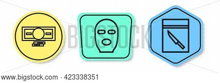 Set Line Stacks Paper Money Cash, Thief Mask And Evidence Bag And Knife. Colored Shapes. Vector