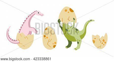 A Cute Dinosaurs Hatching From Eggs. Dinosaurs Eggs Vector Illustration. Newborn Cute Dinosaurs Set
