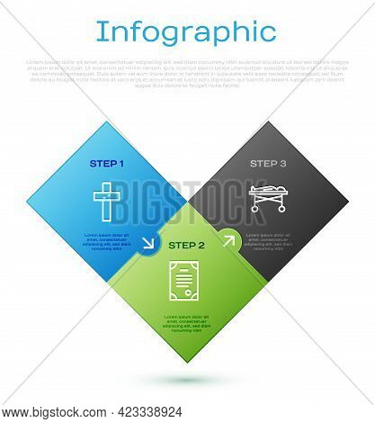 Set Line Christian Cross, Dead Body In The Morgue And Death Certificate. Business Infographic Templa